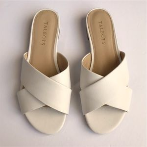 Talbots White Cross Band Leather Flat Sandals